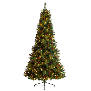 8 Flat Back Montreal Mountain Pine Tree with Pinecones Berries and 300 Warm White LED Lights - SKU #T3320
