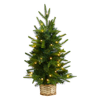 2 Artificial Christmas Tree with 35 Clear LED Lights in Decorative Basket - SKU #T3325