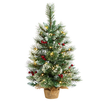 2 Snow Tipped Pine and Berry Artificial Christmas Tree with 35 Warm White LED Lights in Burlap Base - SKU #T3326