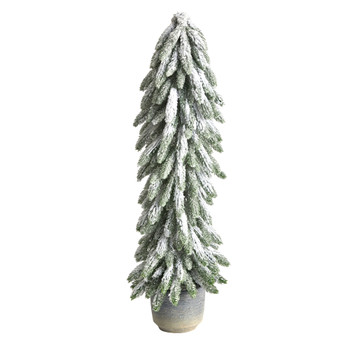 33 Flocked Artificial Christmas Tree in Decorative Planter - SKU #T3368