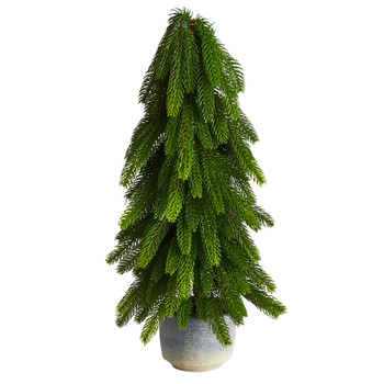 21 Christmas Pine Artificial Tree in Decorative Planter - SKU #T3370