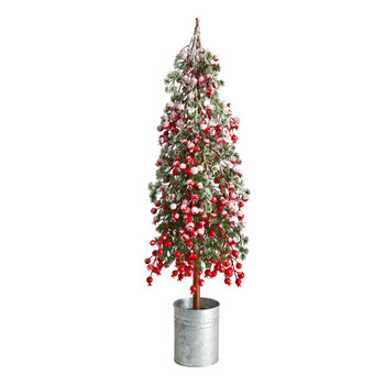 30 Flocked Berry Artificial Christmas Tree in Decorative Planter - SKU #T3372