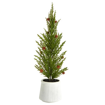 20 Cedar Pine Natural Look Artificial Tree with Mini Pine Cones in Decorative Planter - SKU #T3375