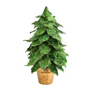 16 Mini Velvet Christmas Artificial Tree in Golden Planter - SKU #T3379