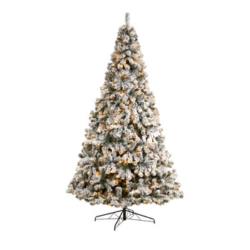 10 Flocked West Virginia Fir Artificial Christmas Tree with 800 Clear LED Lights and 1680 Tips - SKU #T3381