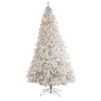 10 White Artificial Christmas Tree with 2200 Bendable Branches and 800 LED Lights - SKU #T3392