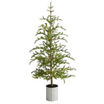 5.5 Pre-Lit Pine Artificial Christmas Tree in Decorative Planter with 150 Lights - SKU #T3395