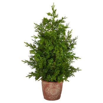 21 Cedar Pine Natural Look Artificial Tree in Decorative Planter - SKU #T3396