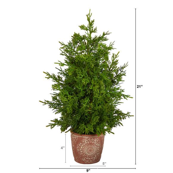 21 Cedar Pine Natural Look Artificial Tree in Decorative Planter - SKU #T3396 - 1