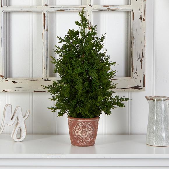 21 Cedar Pine Natural Look Artificial Tree in Decorative Planter - SKU #T3396 - 2