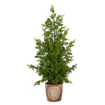 28 Cedar Pine Natural Look Artificial Tree in Decorative Planter - SKU #T3397