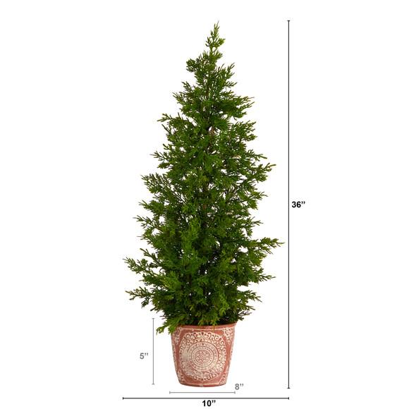 3 Cedar Natural Look Artificial Tree in Decorative Planter - SKU #T3398 - 1