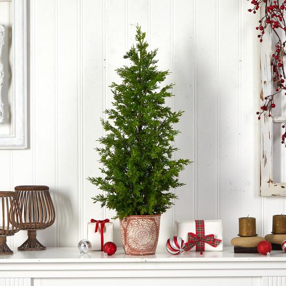 3 Cedar Natural Look Artificial Tree in Decorative Planter - SKU #T3398 - 2