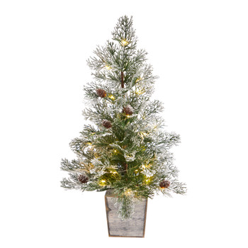 2 Frosted Pre-Lit Artificial Christmas Tree with Pinecones in Decorative Planter - SKU #T3401
