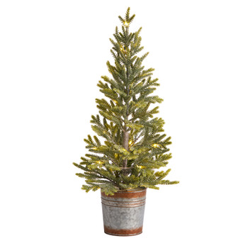 26 Pine Natural Look Artificial Christmas Tree with 35 Warm White Lights in Rustic Metal Planter - SKU #T3402