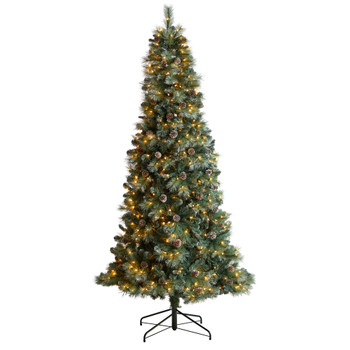 8 Frosted Tip British Columbia Mountain Pine Tree with 500 Clear Lights Pine Cones - SKU #T3501