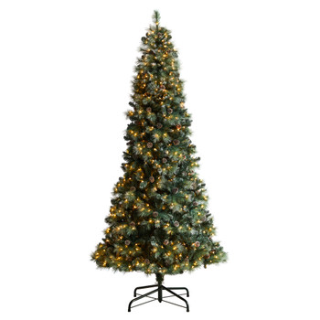 9 Frosted Tip British Columbia Mountain Pine Tree with 700 Clear Lights Pine Cones - SKU #T3502
