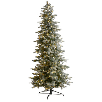8.5 Slim Flocked Nova Scotia Spruce Tree with 500 Warm White LED Lights and 1061 Bendable Branches - SKU #T3503