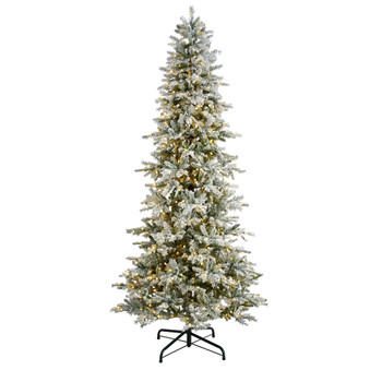9.5 Slim Flocked Nova Scotia Spruce Tree with 600 Warm White LED Lights and 1357 Bendable Branches - SKU #T3504