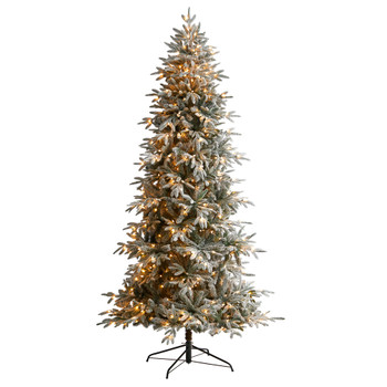 8.5 Flocked Manchester Spruce Artificial Christmas Tree with 550 Lights and 1317 Bendable Branches - SKU #T3505