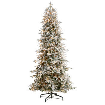 9.5 Flocked Manchester Spruce Artificial Christmas Tree with 650 Lights and 1733 Bendable Branches - SKU #T3506