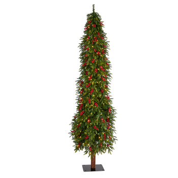 8 Victoria Fir Tree with 350 Multi-Color Multifunction LED Lights Berries and 667 Branches - SKU #T3509