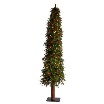 9 Victoria Fir Tree with 400 Multi-Color Multifunction LED Lights Berries and 781 Branches - SKU #T3510