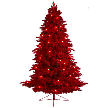 8 Red Flocked Fraser Fir Tree with 700 Red Lights 45 Globe Bulbs and 1468 Bendable Branches - SKU #T3511