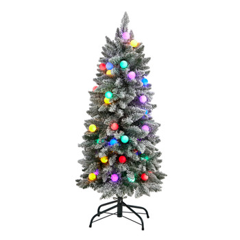 4 Flocked British Columbia Mountain Fir Tree with 40 Multi Color Globe Bulbs and 247 Branches - SKU #T3515
