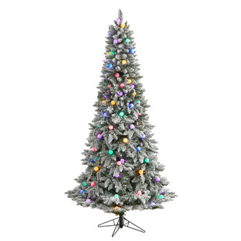 7.5 Flocked British Columbia Mountain Fir Tree with 95 Multi Color Globe Bulbs and 1113 Branches - SKU #T3516