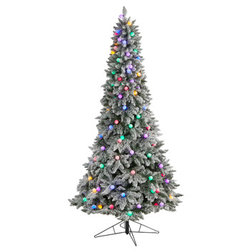 8.5 Flocked British Columbia Mountain Fir Tree with 120 Multi Color Globe Bulbs and 1513 Branches - SKU #T3517