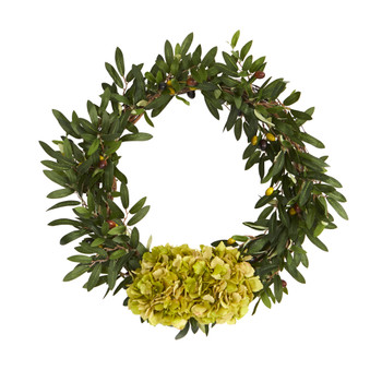 21 Olive with Hydrangea Artificial Wreath - SKU #W1000