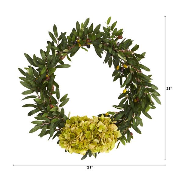 21 Olive with Hydrangea Artificial Wreath - SKU #W1000 - 1