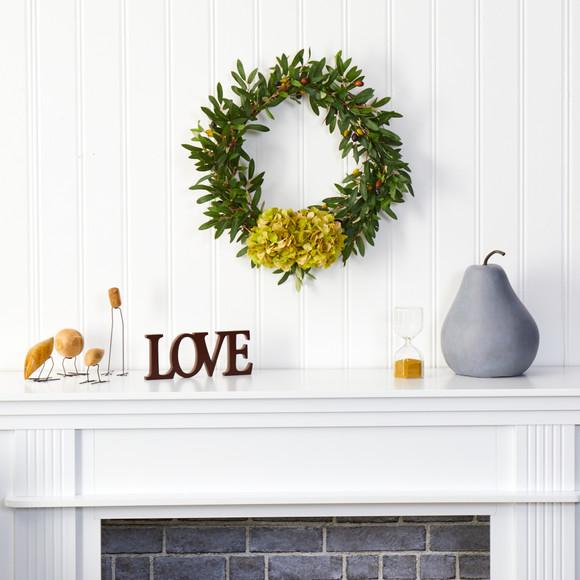 21 Olive with Hydrangea Artificial Wreath - SKU #W1000 - 2