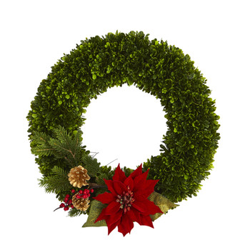 18 Tea Leaf Poinsettia and Pine Artificial Wreath - SKU #W1001