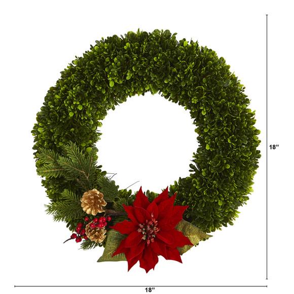 18 Tea Leaf Poinsettia and Pine Artificial Wreath - SKU #W1001 - 1