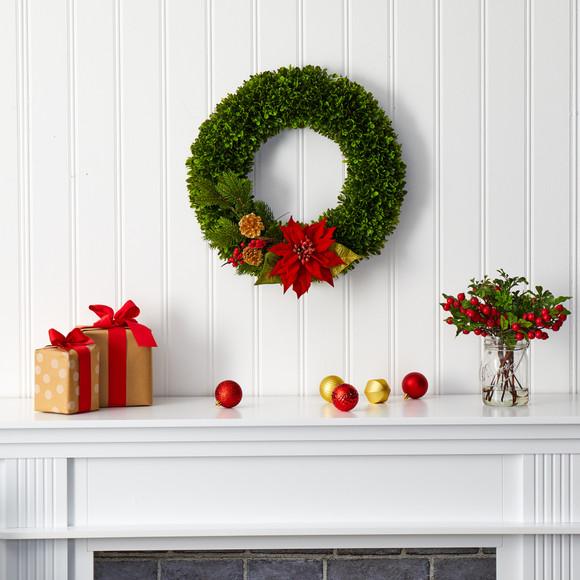 18 Tea Leaf Poinsettia and Pine Artificial Wreath - SKU #W1001 - 2
