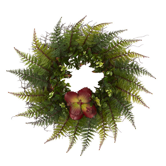 23 Assorted Fern and Succulent Artificial Wreath - SKU #W1002