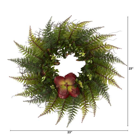 23 Assorted Fern and Succulent Artificial Wreath - SKU #W1002 - 1