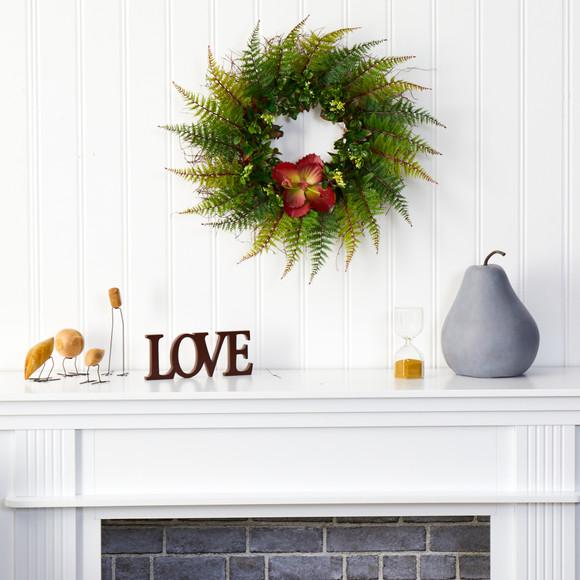 23 Assorted Fern and Succulent Artificial Wreath - SKU #W1002 - 2