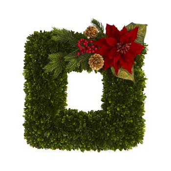16 Tea Leaf and Poinsettia Artificial Square Wreath - SKU #W1003