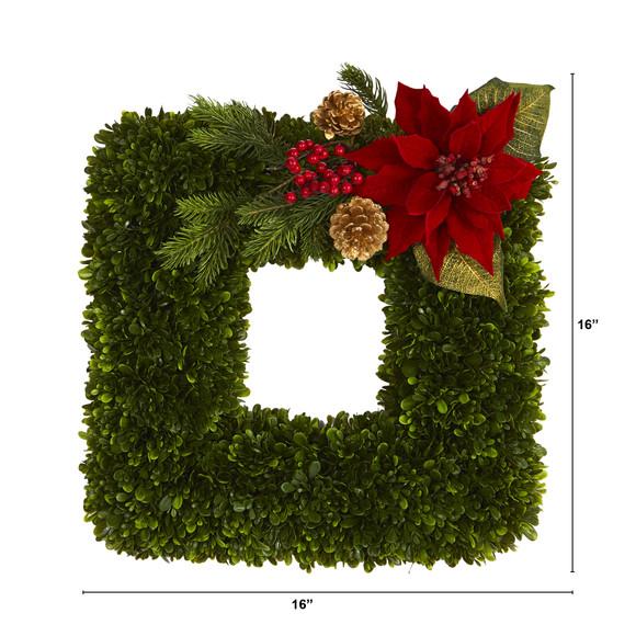 16 Tea Leaf and Poinsettia Artificial Square Wreath - SKU #W1003 - 1
