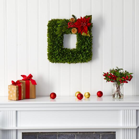 16 Tea Leaf and Poinsettia Artificial Square Wreath - SKU #W1003 - 2