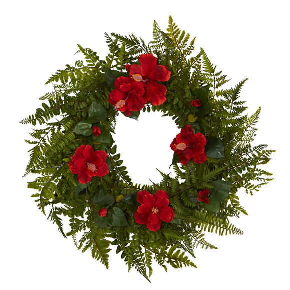 24 Mixed Fern and Hibiscus Artificial Wreath - SKU #W1004
