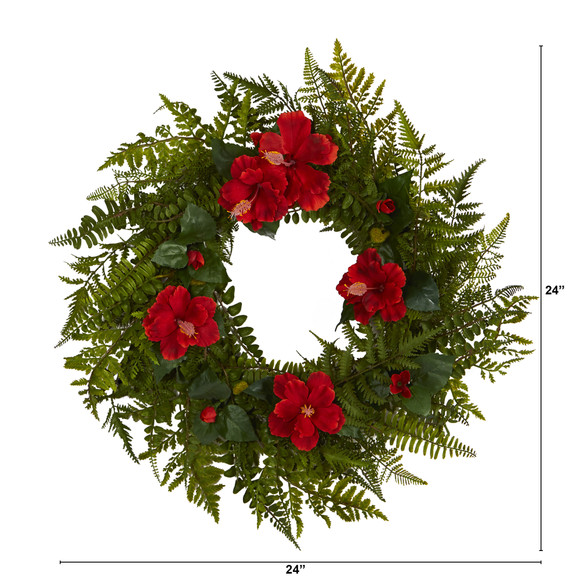 24 Mixed Fern and Hibiscus Artificial Wreath - SKU #W1004 - 1