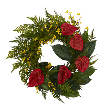 24 Mixed Fern Anthurium and Forsythia Artificial Wreath - SKU #W1005