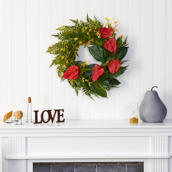 24 Mixed Fern Anthurium and Forsythia Artificial Wreath - SKU #W1005 - 2