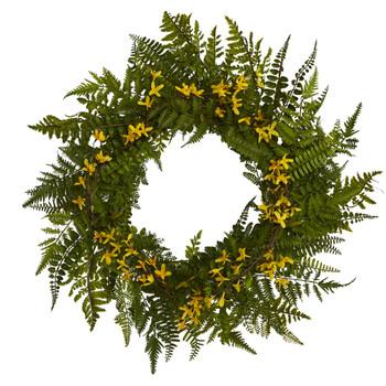 24 Mixed Fern and Forsythia Artificial Wreath - SKU #W1006