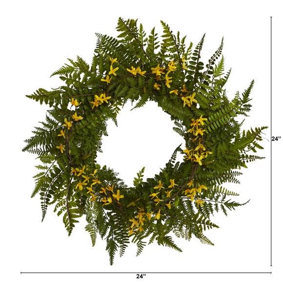 24 Mixed Fern and Forsythia Artificial Wreath - SKU #W1006 - 1