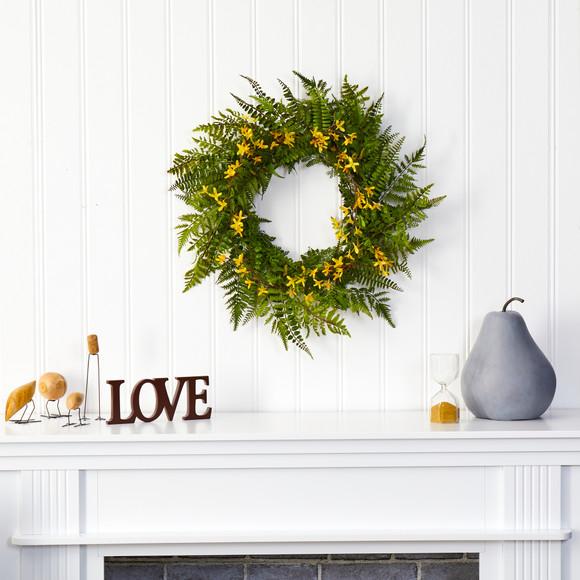 24 Mixed Fern and Forsythia Artificial Wreath - SKU #W1006 - 2